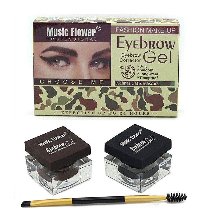 Online Shop Music Flower Eyebrow Makeup Kit Eye Brow Gel Eyeliner
