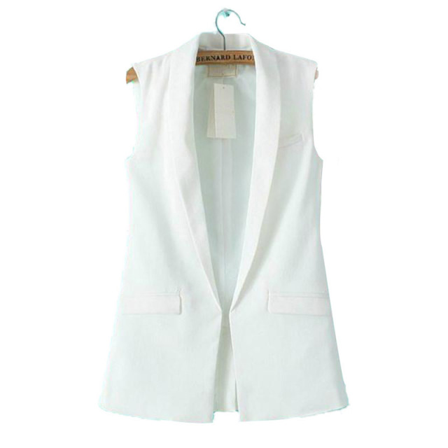 Women Sleeveless Blazers Suit Jackets Office OL Lapel Coat Long Vest Tops S M L