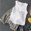 Venta al por menor 2016 Nuevos Niños de los Muchachos Camisas Chaleco + Pantalones 2 unids Ropa de Verano Juego Del Bebé Del Muchacho Juegos de Los Cortocircuitos