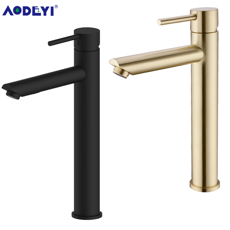 AODEYI High Quality Bathroom Faucet Black Solid Brass Bathroom Solid Basin Faucet Cold and Hot Water