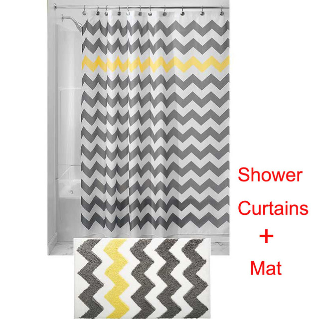 1SET180x180CM Water Repellent Fabric Shower Curtains Liners+ ...