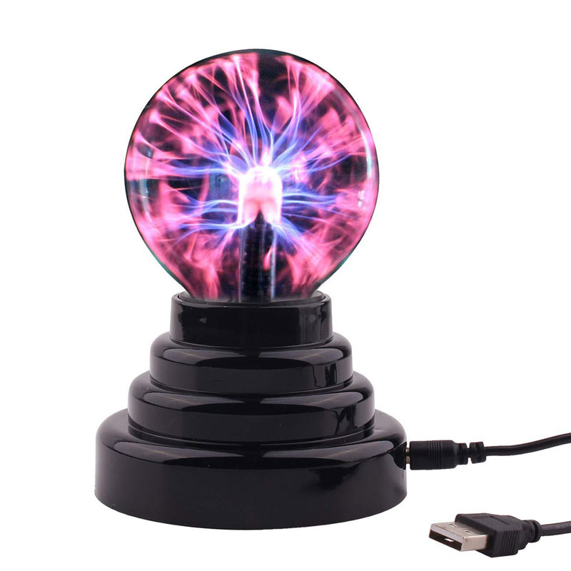 Novelty Glass Magic Plasma Ball Lamp Finger Touch Activated Blitzball Table Night Light Lamp Home Decoration Accessories
