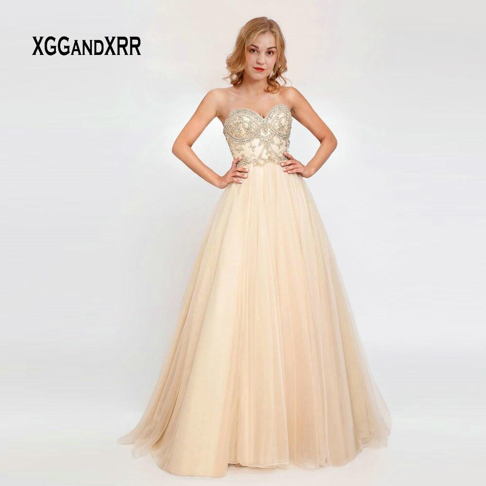 89b8869aa74 Элегантный легкий кремовый цвет Длинные платье для выпускного вечера 2019  Линия Тюль Роскошные
