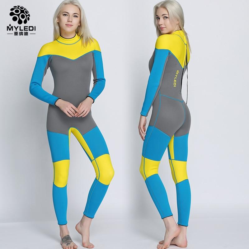 2018 Neoprene 3mm one-piece diving suit waterproof clothing warm wetsuit surfing suit  Women's free diving suit