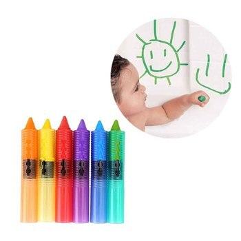 Новинка, 6 шт., Детские Игрушки для ванны, моющиеся карандаши для ванны, Детская безопасная цветная ручка, детские развивающие игрушки для воды