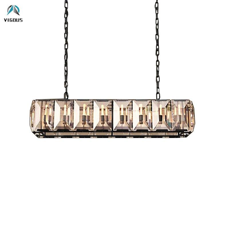 Americano RH brillo K9 de E14 colgante Led de lujo luz Led comedor lámpara colgante cadena lámpara Led suspender luz