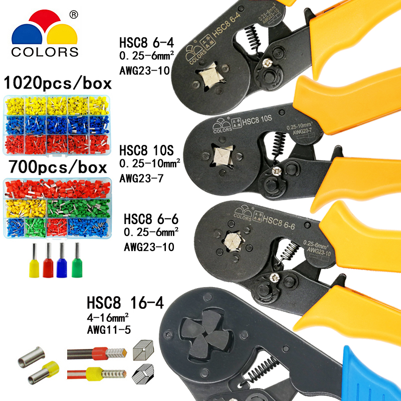 HSC8 10S crimping pliers 0.25-10mm2  HSC8 6-4/6-6 0.25-6mm2 tube type needle terminal box set mini pressure wire toolsHSC8 10S crimping pliers 0.25-10mm2  HSC8 6-4/6-6 0.25-6mm2 tube type needle terminal box set mini pressure wire tools