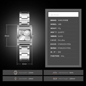 Image 5 - SKMEI אופנה נשים של שעוני יוקרה מותג נירוסטה קוורץ גבירותיי שעון עמיד למים נשים צמיד שעון Relogio Feminino