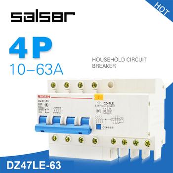 DZ47LE-63 4 P małych wielkości elektryczne ochrony Mini PRZERYWACZ gospodarstwa domowego obrońców i staje w sytuacji sam elektryczne wycieku MCB tanie i dobre opinie DZ47LE-63 4P SBLSBR 6 10 16 20 25 32 40 63A 400V