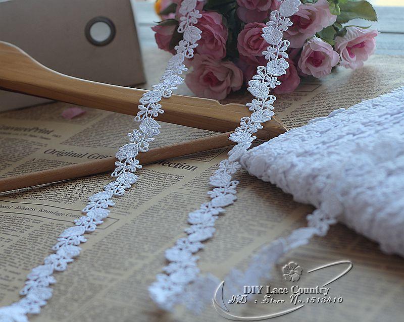 5yds / lot 2cm breed witte zijde melkoplosbare kant trim trouwjurk - Kunsten, ambachten en naaien