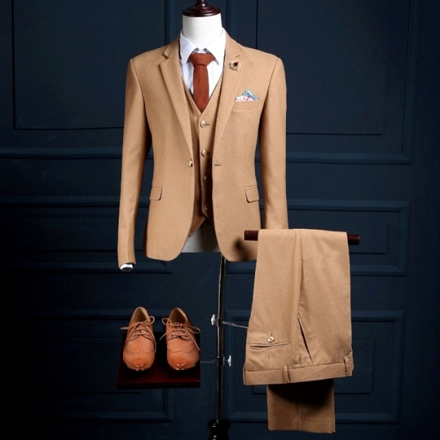 US $118 0 |NA18 New Model Custom One Button Khaki Mans Wedding Formal Wear  Suits Tailored Made (Coat+Pants+Vest) Slim Fit Mans Tuxedos-in Tailor-made