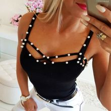 2019 Women Hot Pearl Beaded Strappy Hollow Out Bandage Bodycon Vest Tank Clubwear Party T Shirt