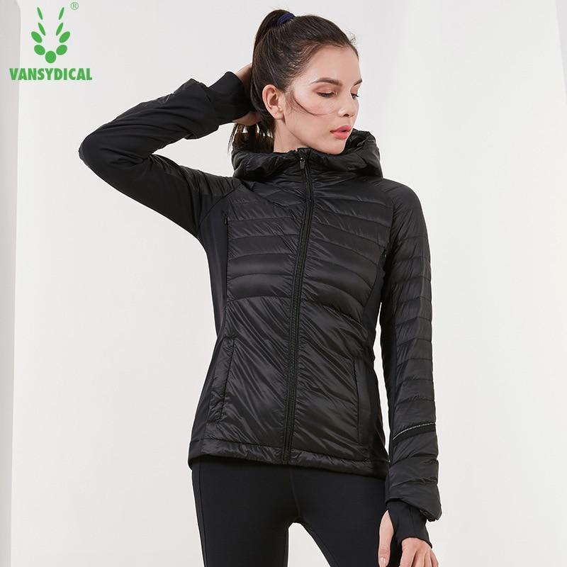 Женское пуховое пальто Vansydical, зимнее теплое ветрозащитное спортивное пальто с длинным рукавом и капюшоном, Белые куртки для бега на утином