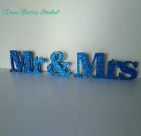 נצנצים בצבע כחול כהה מר וגברת סימן חתונה קישוט החתונה קישוט שולחן עץ ובודדה מכתבי חתונה מתוקה