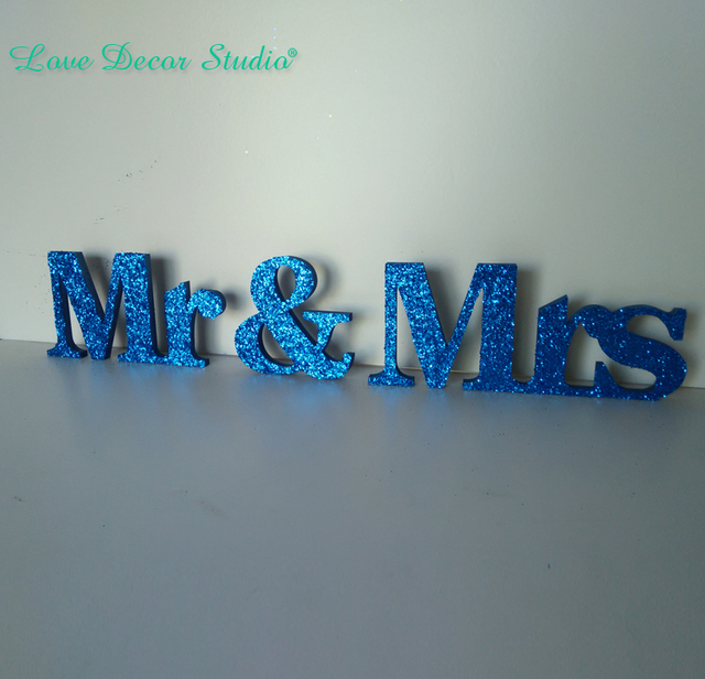navy blue glitter mr mrs wedding sign wooden and freestanding