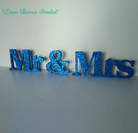 Navy blue glitter Mr & Mrs wedding sign Wooden and freestanding Wedding letters Sweetheart table decoration Wedding decoration