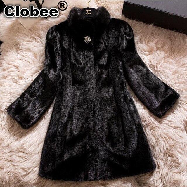 b4e198d5e1e Plus Size 4XL 5XL 6XL Faux Fur Coats for Women Winter Long Fur Coat  Synthetic Mink