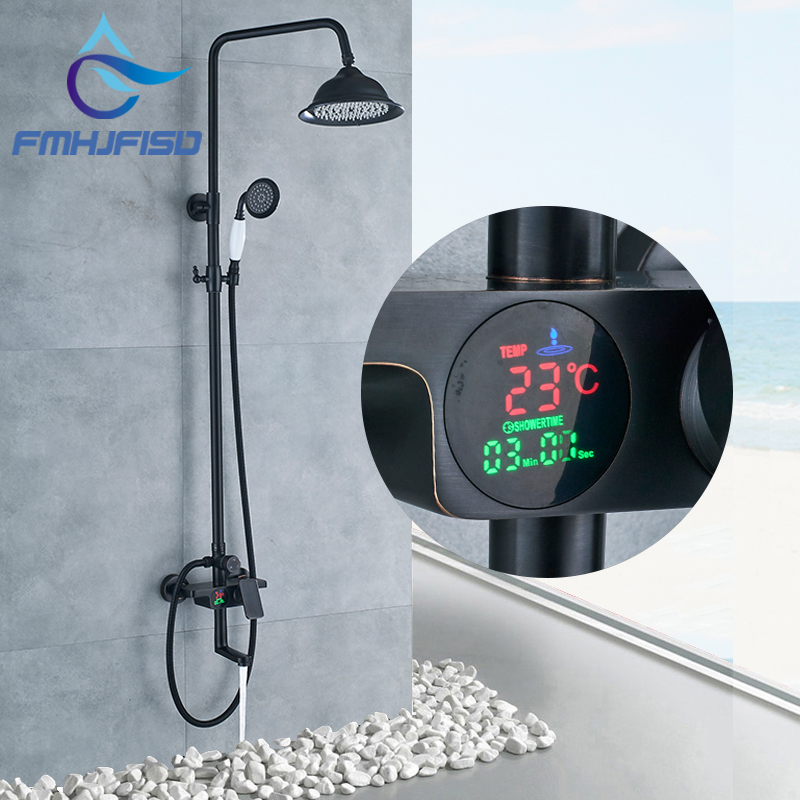 Digital Display LED Bathroom Shower Faucet Rainfall LED Shower Head with LED Hand Shower Cold and Hot Water Faucet Sets freeshipping brass 10 inch led shower head led shower temperature led water led bathroom faucet shower