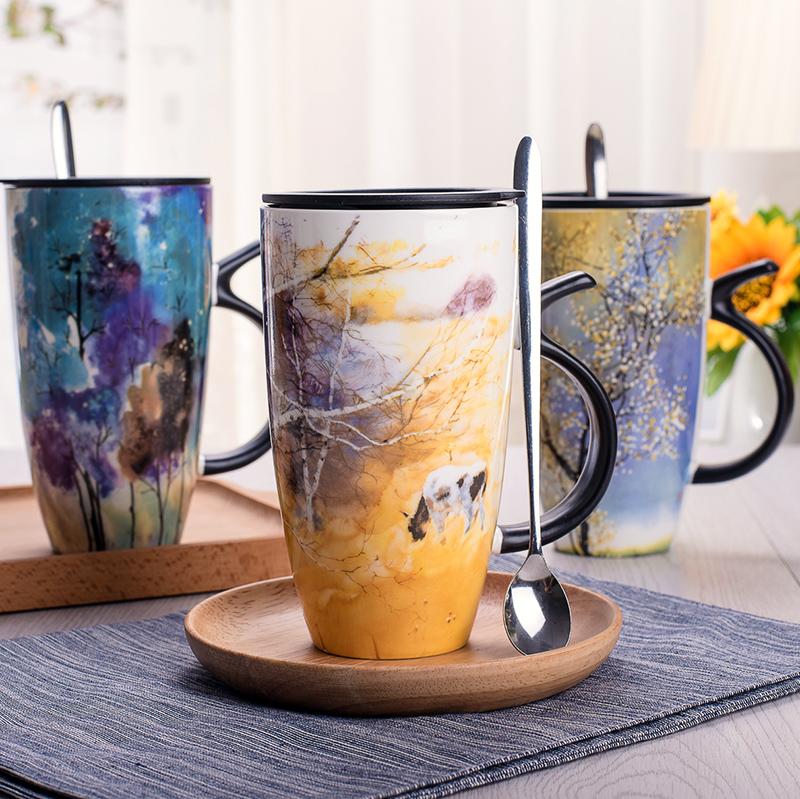 European style hand painted ceramic mug with cover milk coffee cup Office