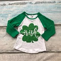 baby girls St.Martin's day wish Shamrocks print cute cotton boutique top T-shirt  clothing green kid spring wear long sleeve