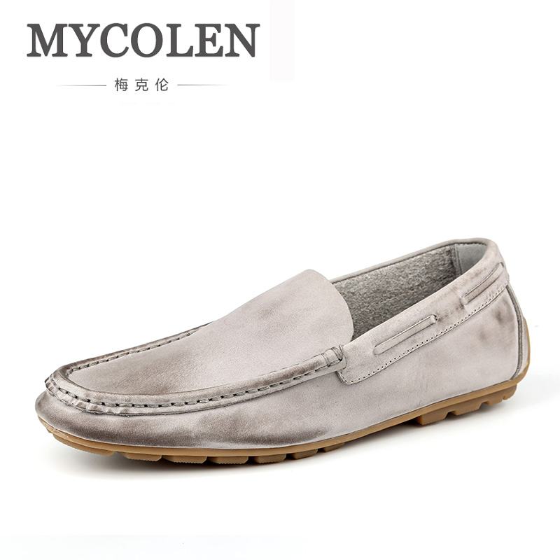 MYCOLEN Handmade Men Flats Shoes Comfortable Genuine Leather Mens Shoes Breathable Soft Loafers Chaussure Homme De Marque mycolen 2018 new arrival casual mens shoes red leather men fashion low lace up men flats shoes chaussure homme de marque
