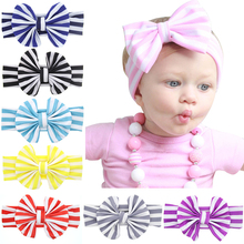 New Cute 0-8 years old kids Headband Cotton Big Bow Hair Bands Color stripes Elasticity Kids Hair Accessories H131