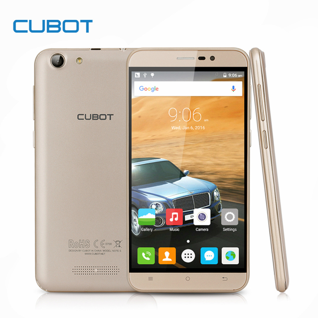 Cubot Note S 4150mAh Battery Smartphone 5.5inch HD Screen Android 6.0 MTK6580 Cellphone 3G WCDMA 2G RAM 16G ROM Mobile Phone