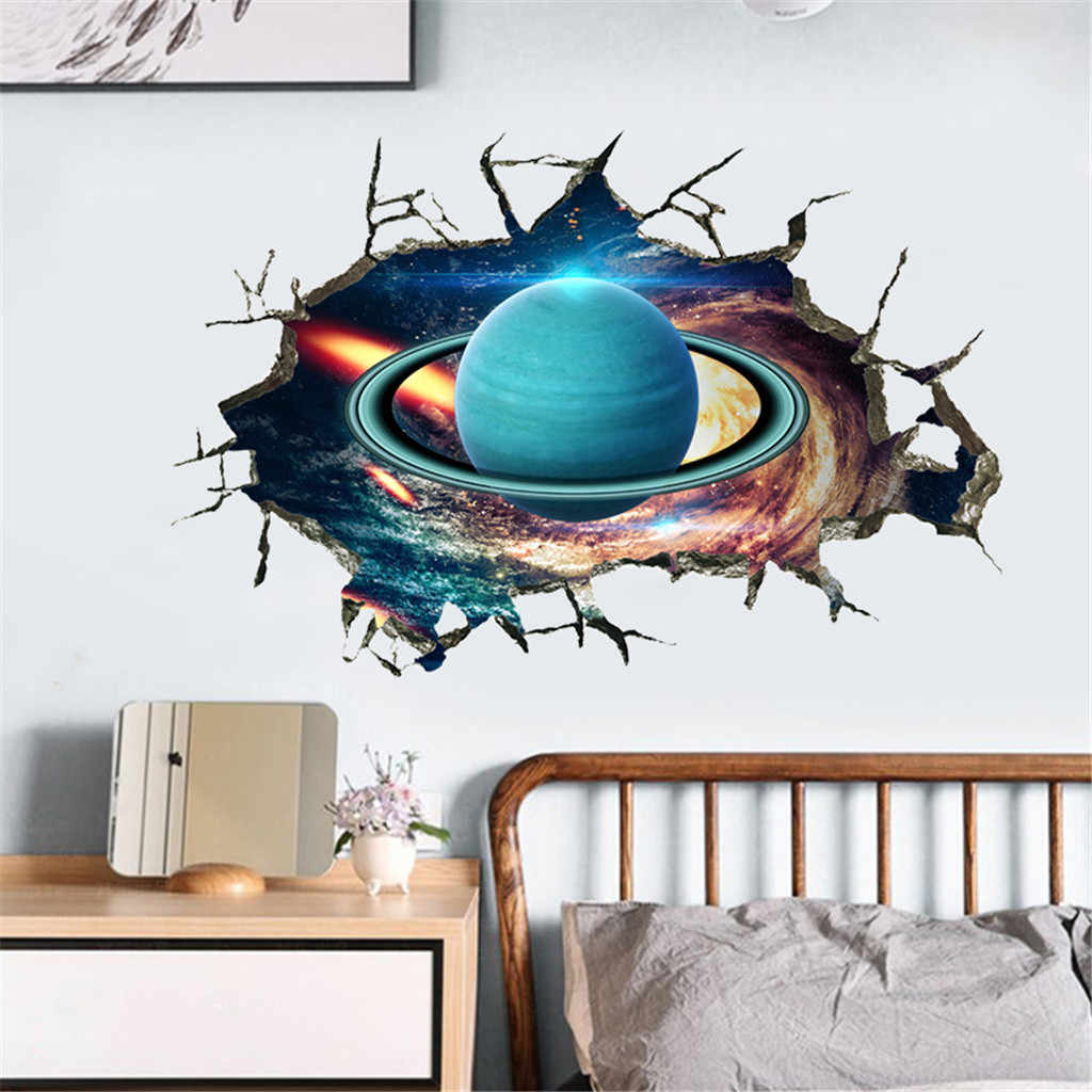 New Outer Space Planet Wall Stickers 3D Through Wall Home Decor Galaxy Mural Decals Living Room Bedroom Ceiling Floor Decoration