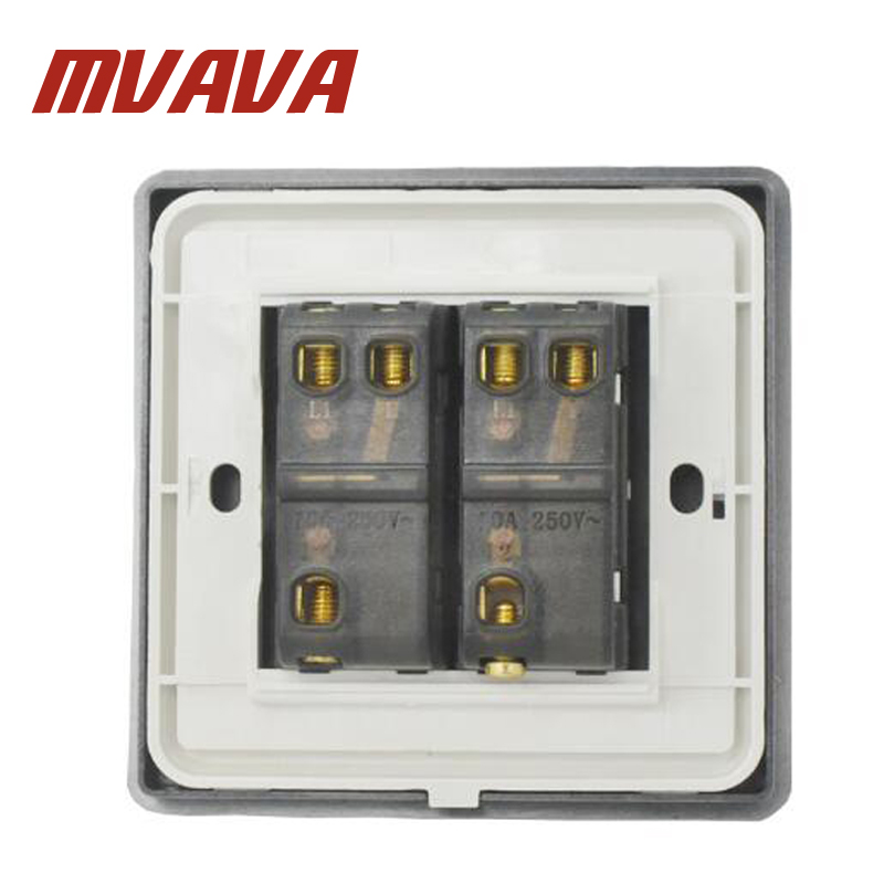 MVAVA 86*86MM Black PC Panel Home Light Switch 110 250V 2 Gang 1 Way ...