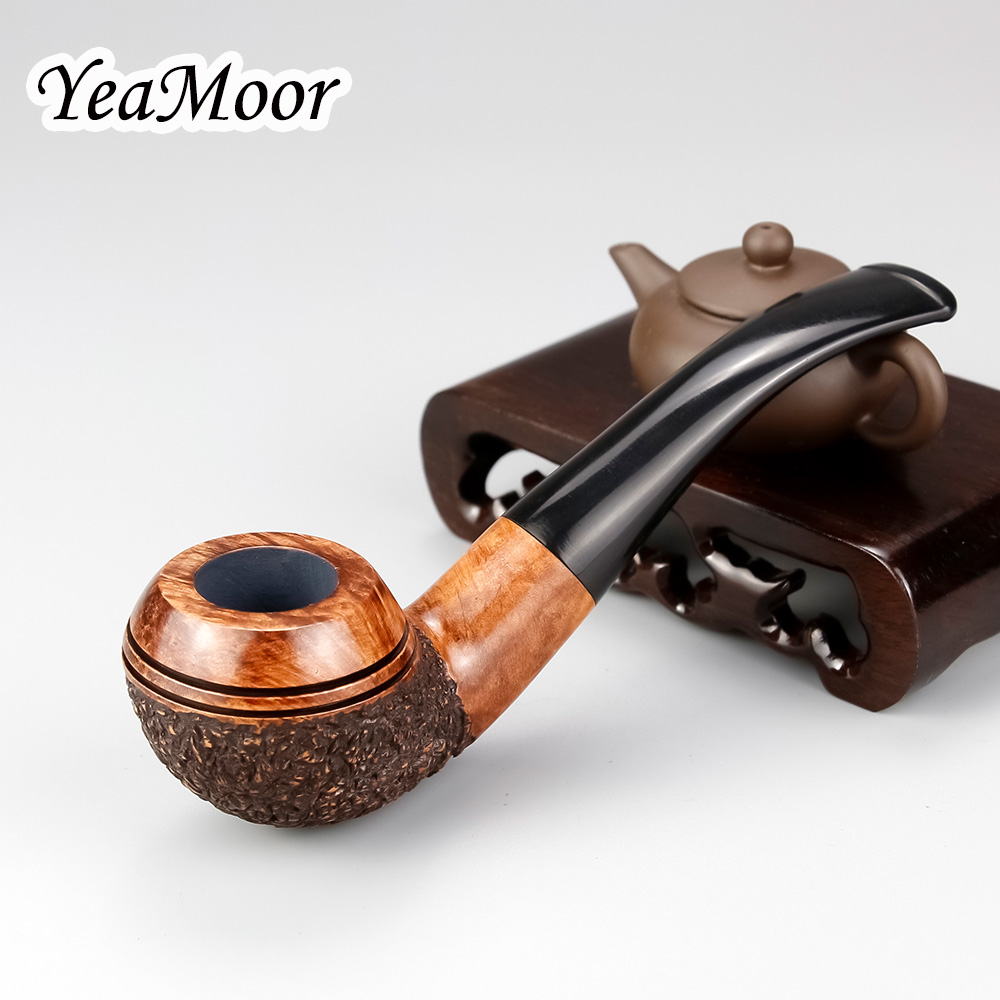 New Random Carved Briar Wood Pipe 9mm Filter Tobacco Smoking Pipe Round Bowl Bent Tobacco Pipe