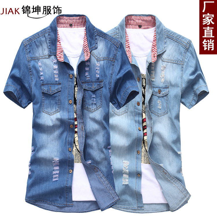 The New Summer 2019 Cowboy Shirts Men's Wear Short-sleeved Hole In The Cowboy Shirt