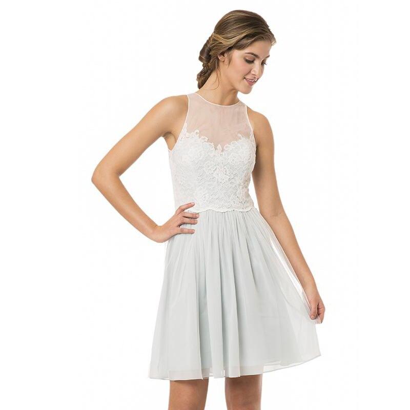 Alta Escote Una Línea de Gasa Y Encaje de Dama De Honor Corto Vestido Vestidos D