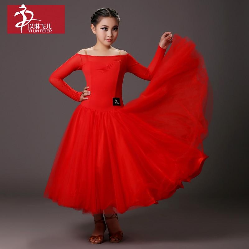 2017 Led Costume Real Sale Ballroom Dance Dress Newest Design Kid Girl Modern Waltz Tango Dress/standard Competition Fy1020