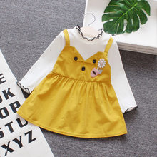 2018 autumn baby girl dress applique button turtleneck long sleeve thin section 12 month girl clothes girls birthday dress(China)