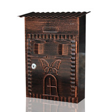 Retro Villa Mailbox Garden Mail Box With Secure Lock Antique Home Wall Outdoor Decoration Creative Postbox Butterfly