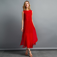 17summer Fashion High End Round Neck Collar Embroidered Faint Flowers Silk Georgette Female S Long Dress