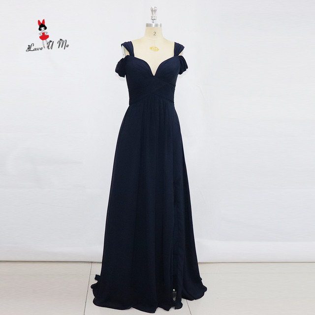 b01c4792f7 Aliexpress.com : Buy 2017 Navy Blue Bridesmaid Dresses Sweetheart Long  Wedding Guest Dress Split Front Chiffon Cheap Party Gowns Zipper Vestido  Longo ...