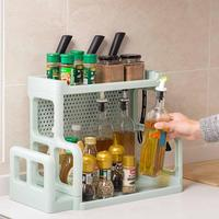 Double Layer Kitchen Storage Shelf Seasoning Bottles Organizers Kitchenware Hanging Rack With Knife Chopping Board Holder