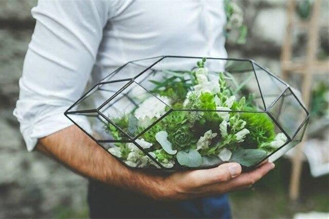 Стекла ручной работы Террариум/Современные сеялки для внутреннего садоводство/геометрический Кристалл Форма Орхидея сеялки Таблица парниковых