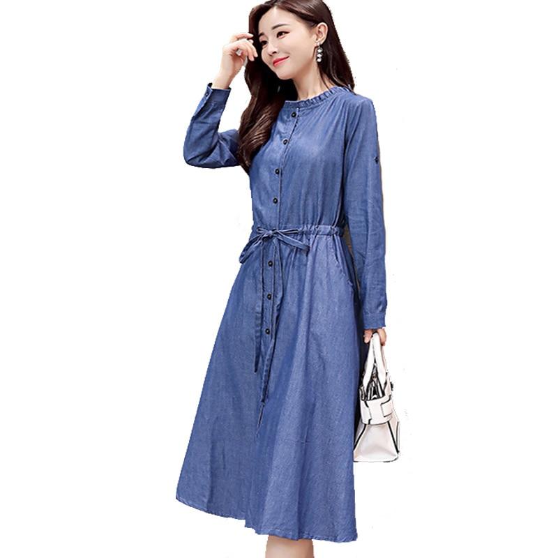 79b5e0d7576 add Denim Dress New Trendy A Line Shirt Jean Dress Midi Blue Womens Elegant  XXl cotton slim Cowboy Loose Jeans Dresses Autumn -in Dresses from Women s  ...