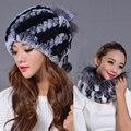 2016 gorros de invierno de Doble uso bufanda y sombrero de piel para las mujeres de punto rex sombrero de piel de Mapache con piel de zorro superior espesar ocasional de las mujeres sombrero