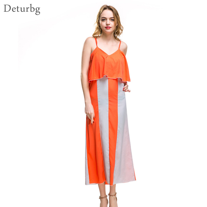 Deturbg Womens Y Ruffled Midi Dress Female Casual Backless Chiffon Off Shoulder Strap Orange Beach Dresses 2018 Summer Dr357 In From Women S