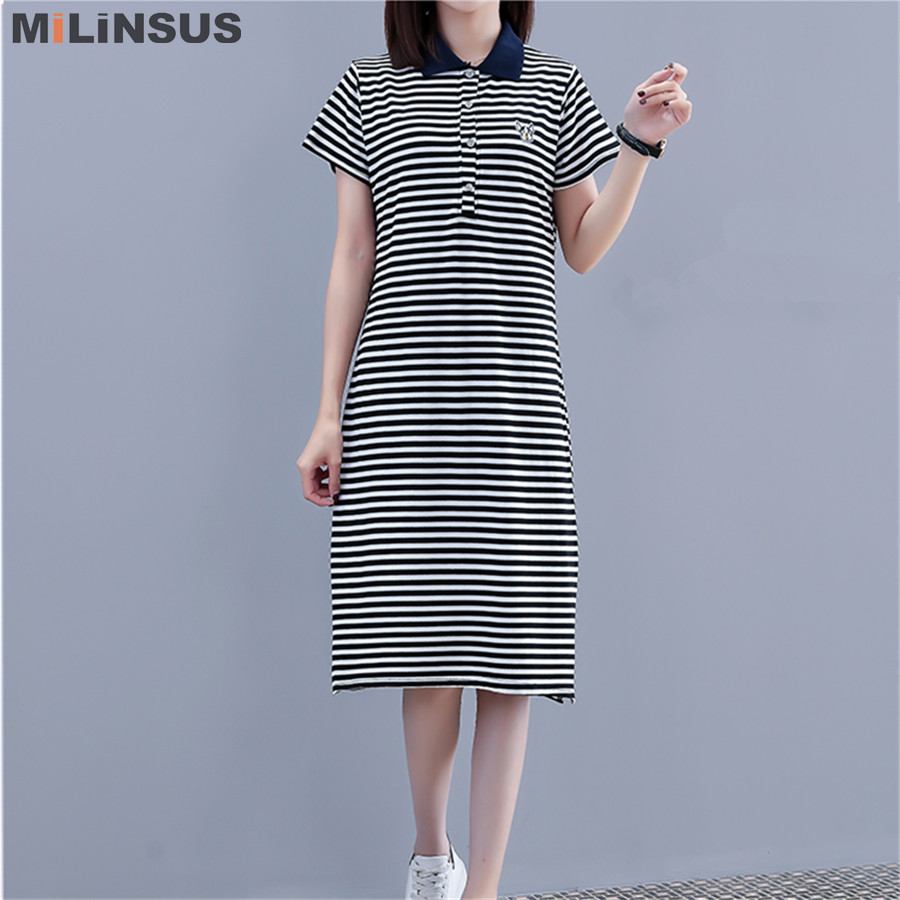 US $15.6 20% OFF|Milinsus stripes women Polo dress embroidery plus size  short sleeve casual womens dresses cotton Korean summer 2019 vestidos-in ...