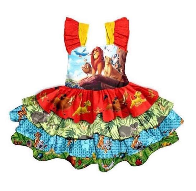 Mouwloze Geïmporteerd Kostuum Meisjes Jurken Lion King Patroon Ontwerp Heldere Meisje Kleding