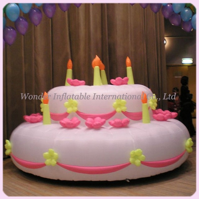 Giant Inflatable Birthday Cake Model With Name Happy Birthday Pink