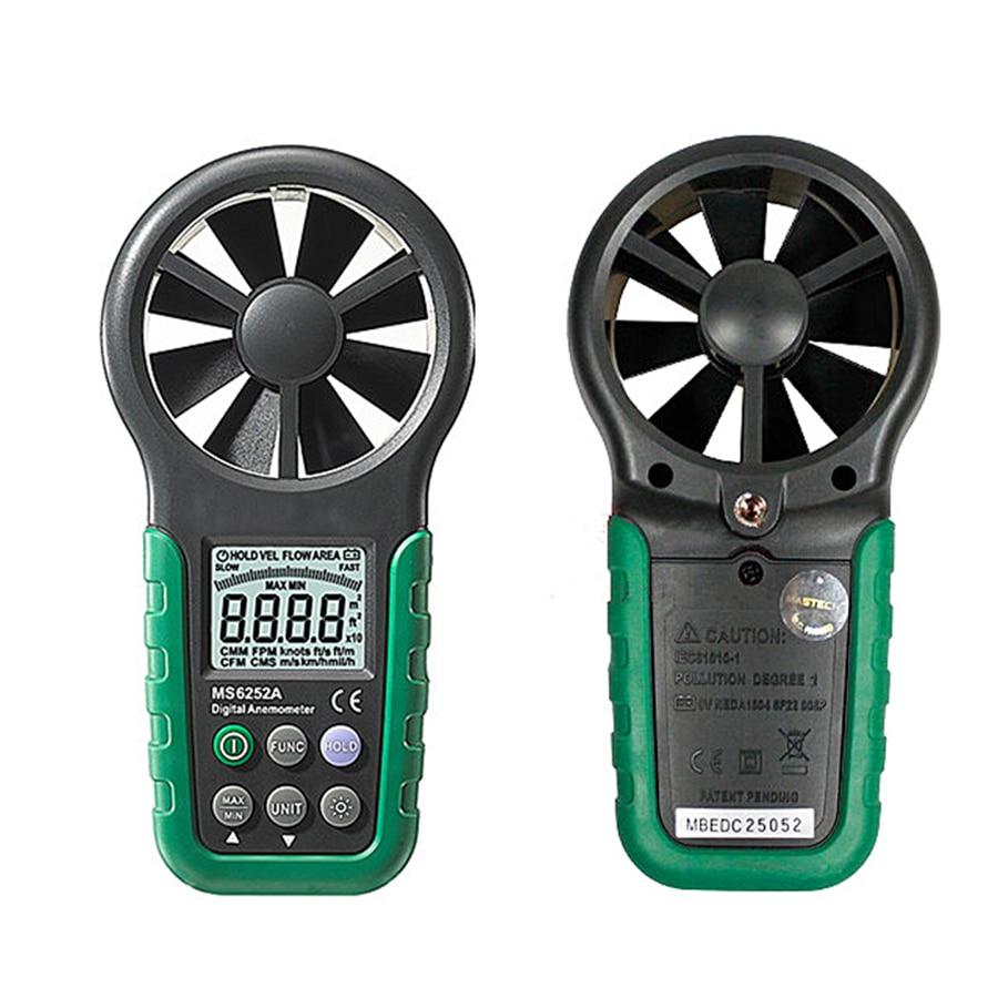 Digital Anemometer T&RH Sensor Air Wind Speed Velocity Meter USB Interface MS6252B цена
