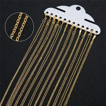 12 pièces/lot 1.5mm métal Losster fermoirs collier chaînes en vrac cuivre or argent chaîne à maillons ouverts pour bricolage bijoux faisant longueur 40cm