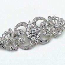 2,2 дюймов родия элегантный покрытый серебром Стиль свадебная брошь с стразы кристаллы