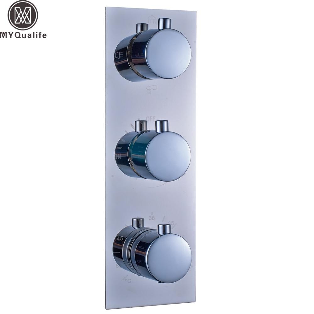 Полированный хром термостатический тройной смеситель для душа Клапан Настенный 3 ручки термостатический Управление Клапан картриджи