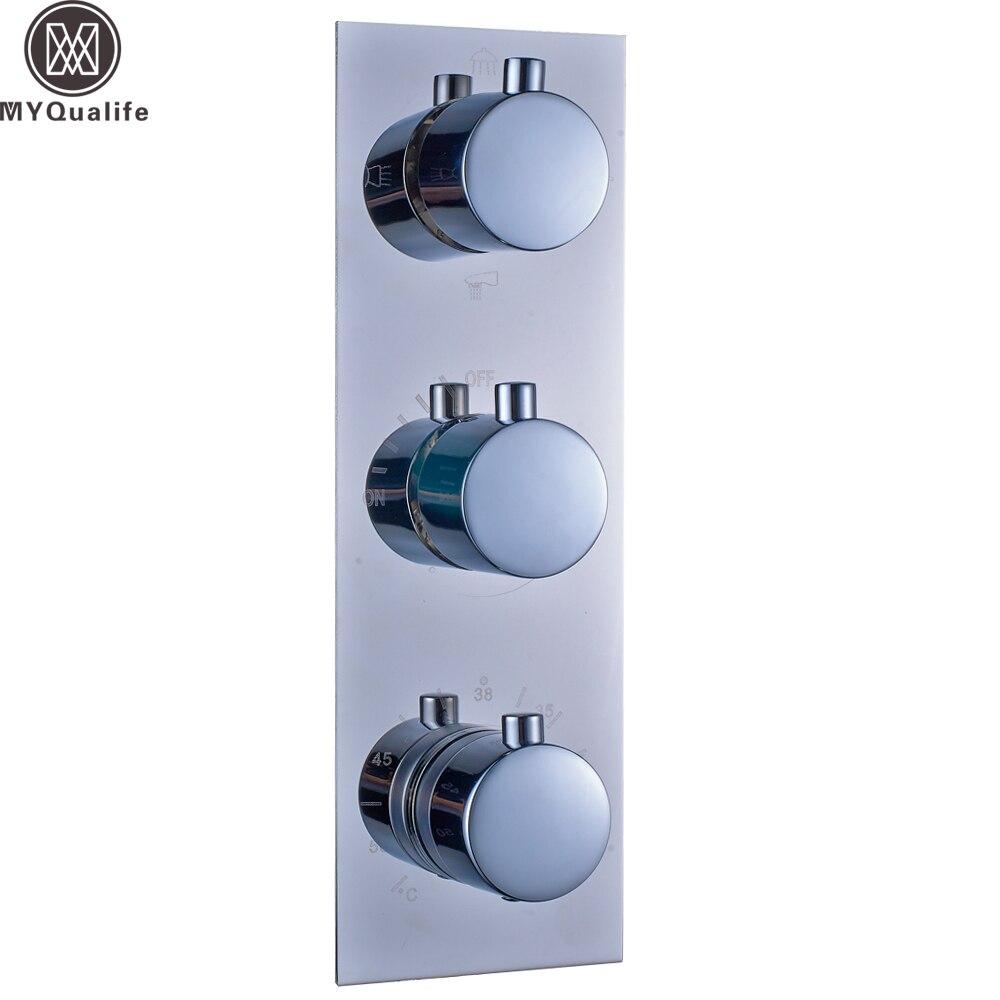 Полированный хром термостатический тройной смеситель для душа клапан Настенный 3 ручки термостатический клапан управления картриджи